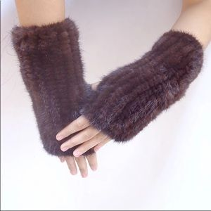 Accessories - Knitted mink fingerless stretchy gloves